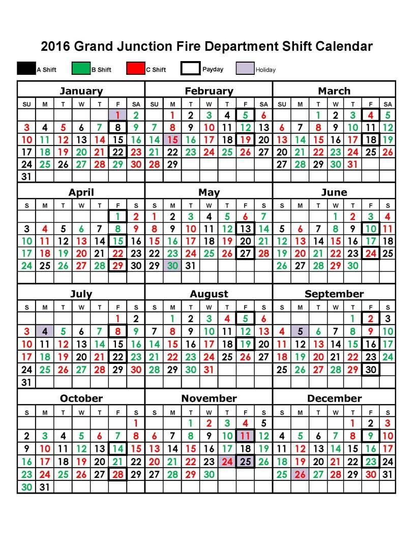 2016 Shift Calendar